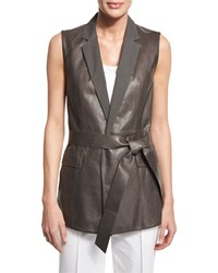 Lafayette 148 New York Scarlet Tailored Leather Tie Waist Vest Women's Deep Rock