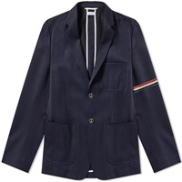 Thom Browne Unconstructed Patch Pocket Blazer Blue
