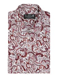 New And Lingwood Periwinkle Paisley Print Shirt White