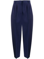 Alexander Mcqueen Cropped Peg Trousers Blue
