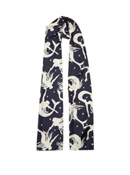 Valentino Mermaid Print Silk Head Scarf Navy