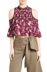 Cinq A Sept Women's Soha Floral Silk Cold Shoulder Crop Top