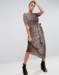 Asos Midi Dress In Leopard With Self Tie Belt Leopard Print Multi