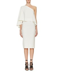 Roland Mouret Amaral One Shoulder Overlay Dress White