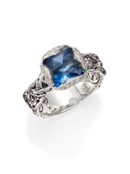John Hardy Classic Chain London Blue Topaz Diamond And Sterling Silver Braided Ring