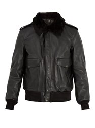 Schott Detachable Faux Shearling And Leather Jacket Black