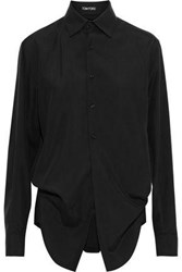 Tom Ford Woman Layered Washed Silk Bodysuit Black