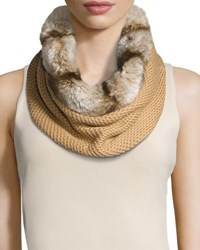 Badgley Mischka Faux Fur And Knit Infinity Scarf Camel