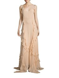 Elizabeth And James Catherine Ruffle Silk Gown Biscuit