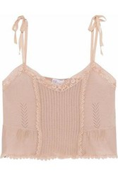 Red Valentino Crochet Trimmed Pointelle Knit Cashmere And Silk Blend Top Neutral