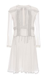 Burberry Silk Crepon Drop Waist Dress White