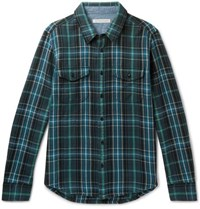 Outerknown Blanket Checked Organic Cotton Twill Shirt Green