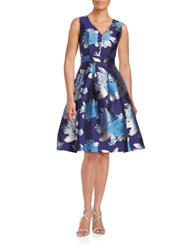 Eliza J Floral Jacquard Fit And Flare Dress Blue
