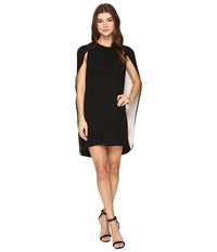 Halston Cape Sleeve Round Neck Color Blocked Dress Black Champagne Women's Dress
