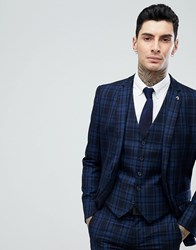 Farah Skinny Suit Jacket In Check Navy