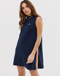 Tommy Jeans A Line Tape Detail T Shirt Dress Black