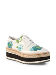 Prada Flower Leather Brogue Platform Oxfords