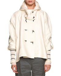 Giorgio Armani Double Breasted Cropped Hooded Coat White