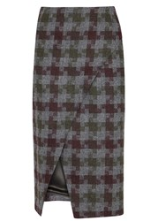 Samuel Dougal Charcoal Houndstooth Wool Skirt Multicoloured