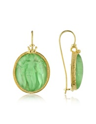 Tagliamonte Three Graces 18K Gold Mother Of Pearl Cameo Earrings Green