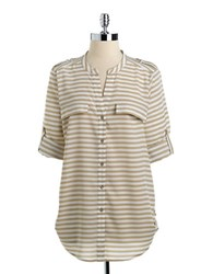 Calvin Klein Striped Roll Tab Button Down Blouse Latte Ivory