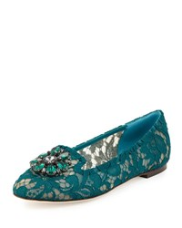 Dolce And Gabbana Crystal Embellished Lace Loafer Dark Green