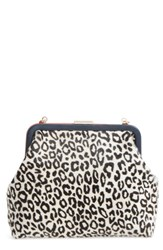 Clare V. Flore Ocelot Print Genuine Calf Hair Frame Clutch Black Mini Ocelot Hair On