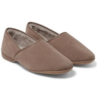 Derek Rose Crawford Shearling Lined Suede Slippers Cream