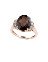 Effy Sienna Smoky Quartz Diamond And 14K Rosegold Ring Rose Gold