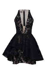 Alex Perry Fleur Open V Floral Lace Mini Black