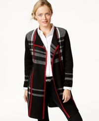 Charter Club Petite Plaid Cardigan Sweater Coat Only At Macy's Deep Black