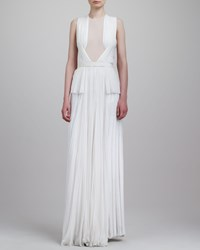 Jason Wu Sheer Inset Pleated Peplum Gown Ivory