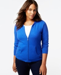Charter Club Plus Size Cashmere Zip Front Hoodie In 5 Colors Only At Macy's Sapphire