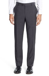 Men's Pal Zileri Flat Front Plaid Wool Trousers