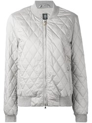 Eleventy Quilted Bomber Jacket Women Silk Cotton Polyester M Grey