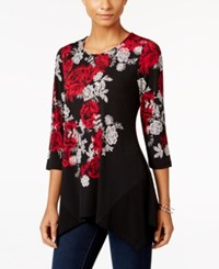 Jm Collection Floral Print Handkerchief Hem Top Only At Macy's Stippled Lace