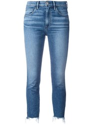 3X1 Frayed Trim Cropped Jeans Blue
