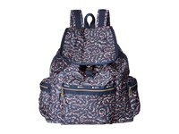 Le Sport Sac 3 Zip Voyager Fairy Floral Blue Handbags Black