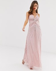 Frock And Frill Twist Front Scatter Sequin Cami Strap Maxi Dress Pink