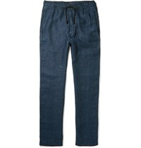 Eidos Herringbone Linen Drawstring Trousers Navy