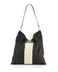 Rag And Bone Rag And Bone Sullivan Paint Stripe Hobo Bag Black
