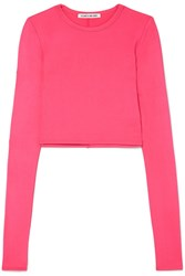 Elizabeth And James Desmond Cropped Stretch Jersey Top Pink Gbp