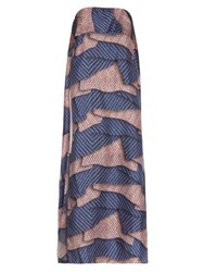 Msgm Aztec Print Layered Strapless Dress Blue Multi