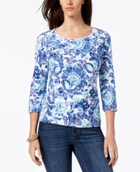 Karen Scott Petite Cotton Printed 3 4 Sleeve Top Created For Macy's Ultra Blue