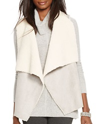 Lauren Ralph Lauren Faux Fur And Faux Suede Vest Grey