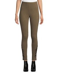 Johnny Was Darielle Tonal Embroidered Leggings Vintage Army