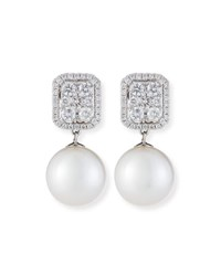 Belpearl 18K White Gold Diamond And Pearl Convertible Earrings