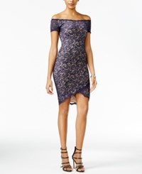 B. Darlin B Juniors' Lace High Low Bodycon Dress Navy Nude