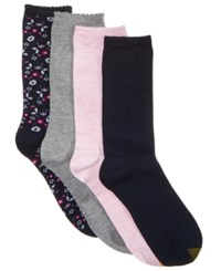 Gold Toe Women's 4 Pk. Painted Floral Socks Tide Blue Painted Grey Heather Blue Night Vintag