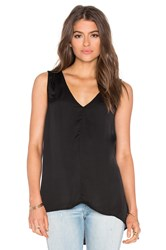 Velvet By Graham And Spencer Venus Satin Viscose V Neck Tank Black